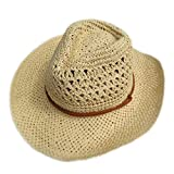 Men Sun Hats, Summer Fashion Travel Straw Solid Hollow Out Unisex Hat