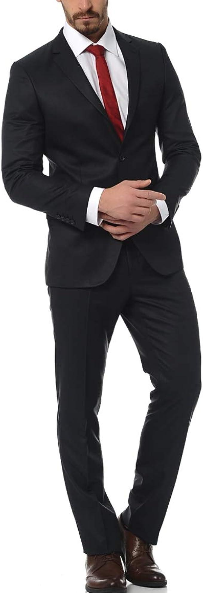 Anzug Herren Slim Fit 2 Teilig Sakko Knopfleiste Herrenanzug Modisch Schwarz Smoking Schlanker Anzugjacke Mit Anzughose Retro Jacke f/ür Business Hochzeit Party