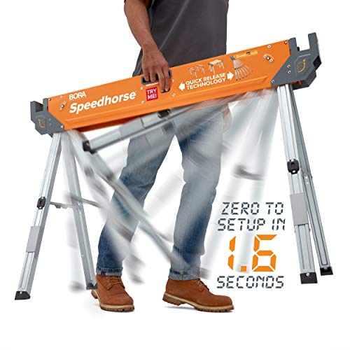 Bora Portamate Speedhorse Sawhorse | Heavy Duty Benchhorse Table Stand with Folding Legs and Metal Top for 2x4 PM-4500 (Bora 2)