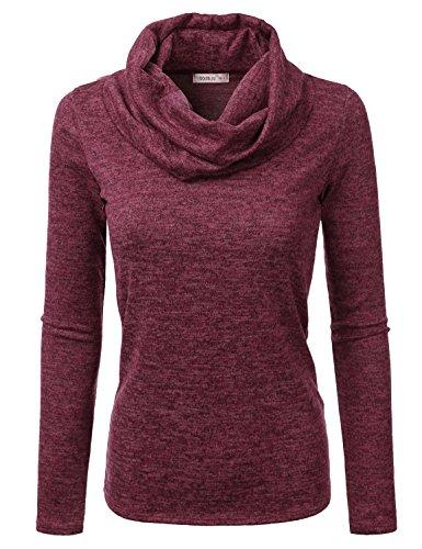 Doublju Cowl Neck Heather Knit Sweater Top for Women with Plus Size Burgundy 3XL