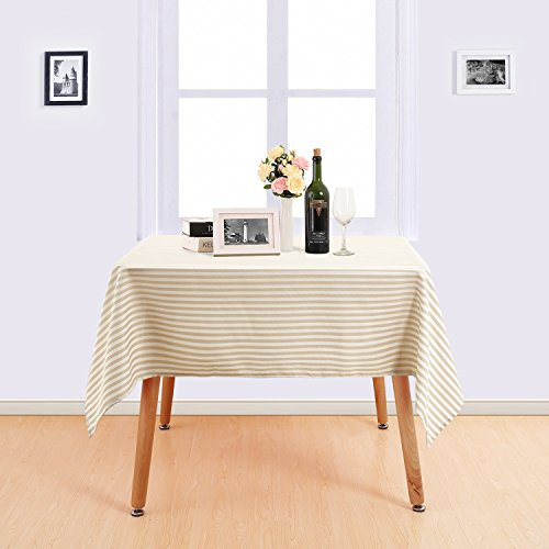 (Deconovo Stripe Pattern Table Cloth Water Resistant and Spill Resistant Table Cover Square Nordic Style Tablecloth Recycled Table Cover for Tables 54x54 Inch White and Beige)