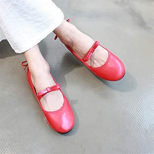 FLYRCX cómodos Zapatos Boca de Casual de Zapatos Zapatos Baja Charol Planos Moda de Arco J Solos Ballet de pfr4vqp