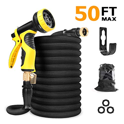 GaoBao 50ft Garden Hose 2020 Upgraded Expandable Garden Water Hose with 9 Function Spray Nozzle Double Latex Core Extra Strength Fabric, Leakproof Flexible Water Hose with Solid Brass Fittings