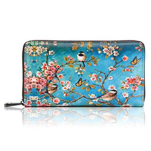 APHISON-Wallets-for-Women-Card-Holder-Zipper-Purse-Phone-Clutch-Wallet-Painting-Wristlet-with-Wrist-StrapGift-Box
