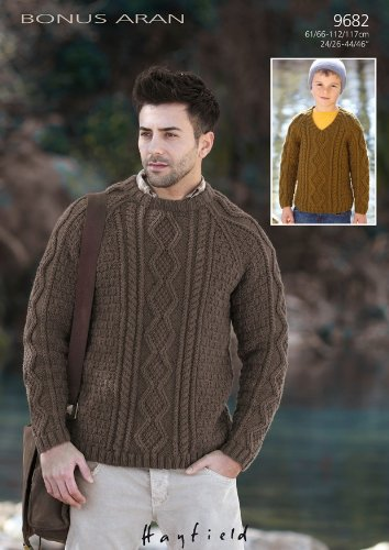 Sirdar Hayfield Bonus Aran Mens And Boys Sweaters Knitting