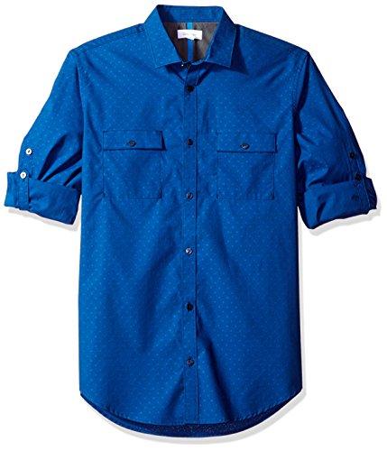 Calvin Klein Men's Long Sleeve Roll Tab Chambray Button Down Shirt, Astoria, Medium - Astoria Collection