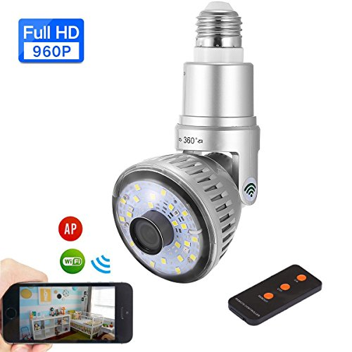 LXH WS17 Light Bulb Hidden IP Camera,Bulb IP Camera Wireless [Adjust Stand] WiFi 960P Hidden Security Cam with LED Light Night Vision Motion Detection for Indoor Home With Natural light