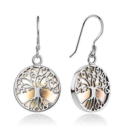 (Sterling Silver Filigree Tree of Life Symbol White Shiva Eye Shell Dangle Hook Earrings 1.3