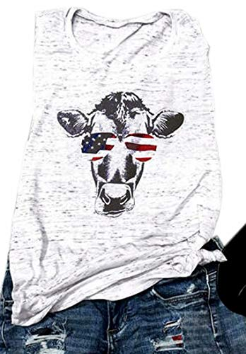 4th Of July Tees - EGELEXY Cow Tank Tops for Women Funny Cow Graphic Sleeveless T Shirt Cow Shirts Casual Muscle Vest Tee Size S (Light Grey)