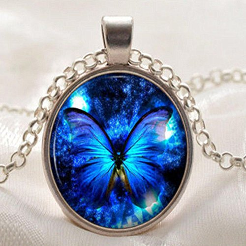 Phetmanee Shop Vintage Butterfly Blue Cabochon Silver Plated Glass Chain Pendant Necklace Gift