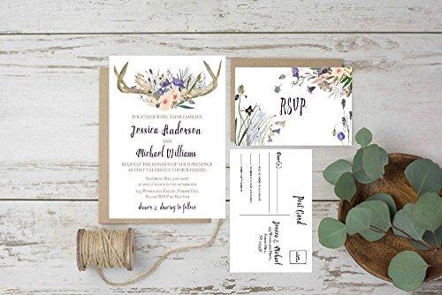 Wedding Invitations Set, Rustic Wedding Invites, Woodland Wedding Invitations, Rustic Invitation Wedding, Wedding Invitation Suite Set of ()