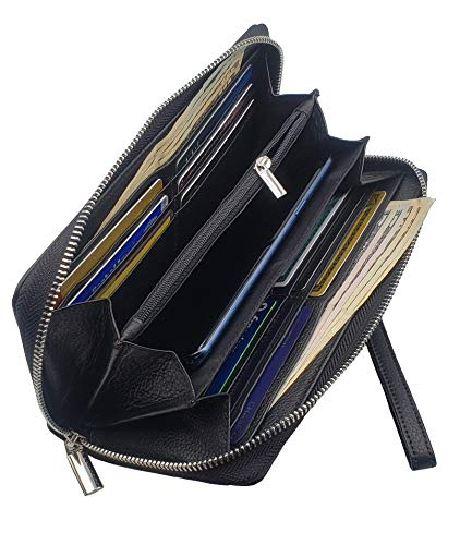 AG Wallets Womens Zip Around RFID Large Wristlet Premium Leather Accordion Style, Womens Clutch Wallet, Passport Holder, Mother Day Gift, Valentines Gift, Gift -