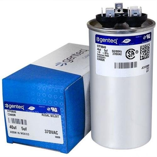 Carrier P291-4053RS • 40 + 5 uF MFD x 370 VAC Genteq Replacement Dual Capacitor Round # C3405R / 97F9849 (York Capacitor)