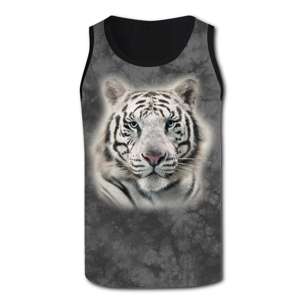 Mens Outdoor Sport White Tiger Tank Top Vest T-Shirt Fast Drying Stylish Sleeveless Tee