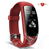 Fitness Tracker, Waterproof Activity Tracker with Heart Rate Monitor Bluetooth Smart Watch Wireless Smart Bracelet Sleep Monitor Pedometer Wristband for Android and iOS Smartphone (red 107)