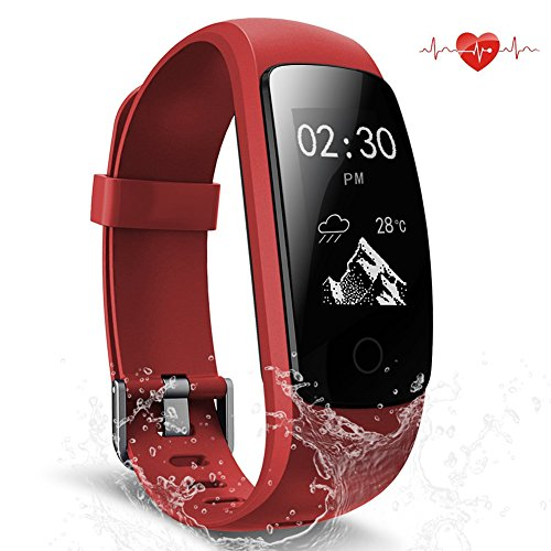 Fitness Tracker Waterproof Activity Tracker with Heart Rate Monitor Smart Bracelet Wristband Bluetooth Wireless Pedometer Sleep Monitor Smartwatch for Android and iOS Smartphones (red)