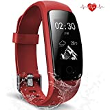 Fitness Tracker Waterproof Activity Tracker with Heart Rate Monitor Smart Bracelet Wristband Bluetooth Wireless Pedometer Sleep Monitor Smartwatch for Android and iOS Smartphones