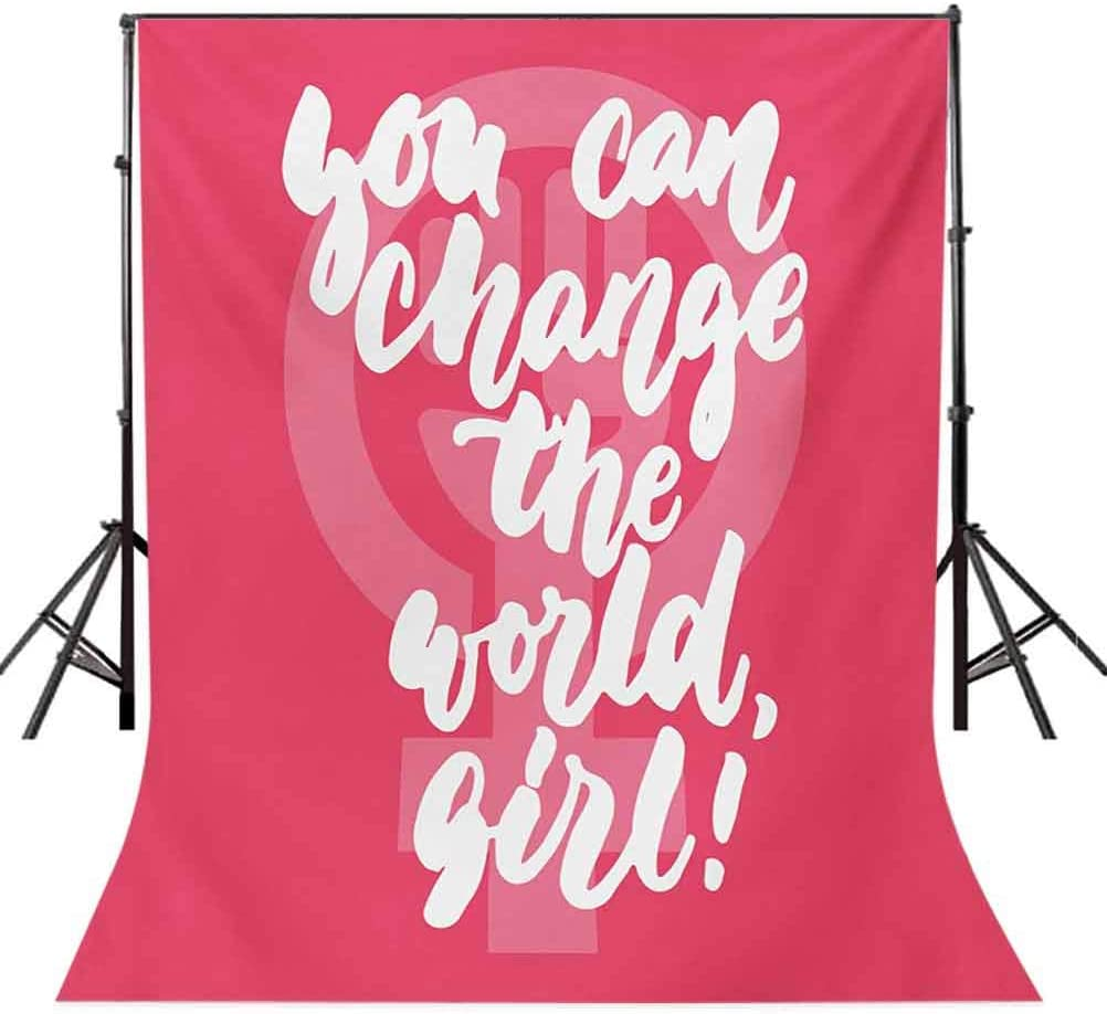 You Can Change The World Girl Female Empowerment Feminist Text on Pink Background for Baby Shower Birthday Wedding Bridal Shower Party Decoration Photo Studio Quote 10x15 FT Photography Backdrop
