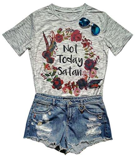 Womens Not Today SatanFloral Print O Neck Short Sleeve Summer T-Shirt Size XXL - Satan Shop