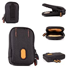 Rugged Protective Storage Case in Black And Orange With Belt Loop for the Monster iSport Strive V3 Sport Headphones - by DURAGADGET