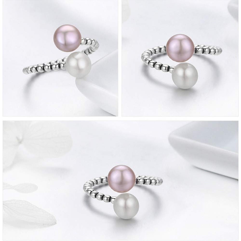 S925 Sterling Silver Womens Open Ring Two-Tone Pearl Fine Twist Adjustable Ring Romantic Giftsimple Style Fashion Idea Temperament Elegant Jewelry