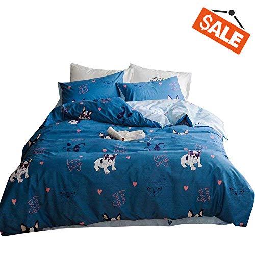 VClife Kid Bedding Sets Cute Cartoon Dog Print Duvet Cover Sets for Boy Girl -1 Duvet Cover 2 Pillowcases, Soft Blue Comforter Cover Sets
