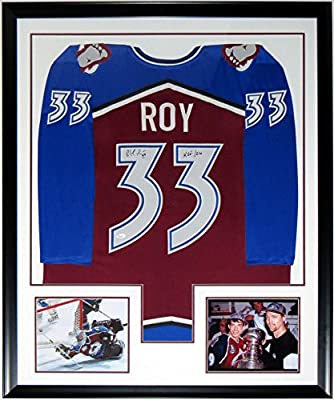 Patrick Roy Signed Authentic Colorado Avalanche Jersey & HOF 2006 Inscription - JSA COA Authenticated - Professionally Framed & 2 8x10 Photo - 34x42