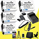 Four Halcyon 1500 mAH Lithium Ion Replacement Nikon EN-EL12 Battery and Charger Kit + Memory Card Wallet + Deluxe Starter Kit for Nikon CoolPix AW110 Digital Camera and Nikon EN-EL12