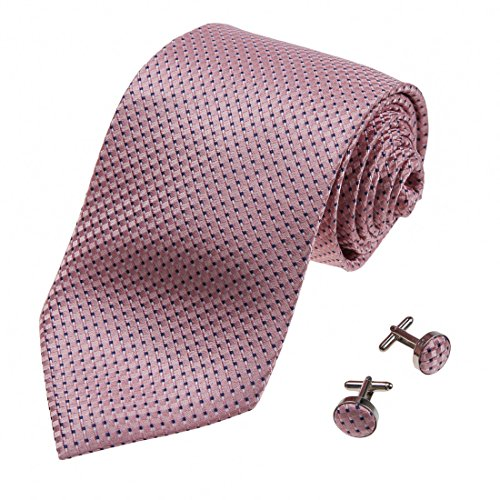 A1089 Light Pink Checkered Buy For Boss Valentines Gift Mens Silk Tie Cufflinks Set 2PT By Y&G