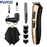 Flyco Hair Trimmer, Hair Cutting Kit Clippers for Men Beard USB Rechargeable Waterproof LED (FC5803-gold black)