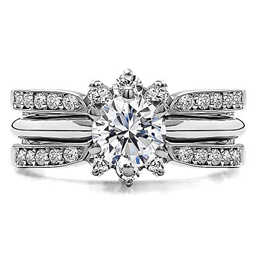 TwoBirch Crown Inspired Half Halo Wedding Ring Guard Enhancer with 0.56 carats of Cubic Zirconia in Sterling Silver by TwoBirch (Image #3)