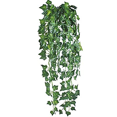 GTidea 6 Feet 2Pcs Artificial English Ivy Leaves Greenery Garland Fake Hanging Plants Faux Foliage Garden Wall Stairway Party Wedding Outside Decorations