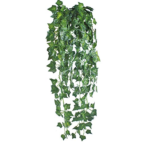 GTidea 6 Feet 2Pcs Artificial Fake Faux English Ivy Silk Green Emulational Garden Vine Plant Leaves Garland Wall Stairway Party Wedding Outside Decoration Green