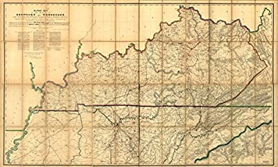 1863 map Military map of the States of Kentucky and Tennessee, within eleven miles of the 35th parallel of latitude or southern boundary of Tennessee; compiled from the best authentic original various