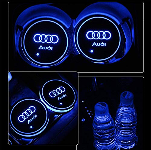 Aswelly LED Car Cup Holder Lights for Audi, 2PCS Car Logo Cup Coaster with 7 Colors Changing USB Charging Mat, Luminescent Cup Pad Interior Atmosphere Lamp Cool Car Accessories for Audi