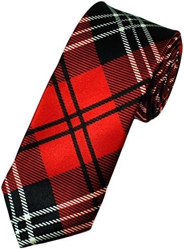 Corbata para Hombre Satinada Color Rojo a Cuadros Delgada - Negro ...