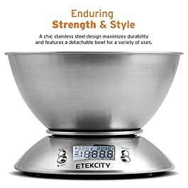 Etekcity Food Scale with Bowl, Timer, and Temperature Sensor, Digital Kitchen Weight for Cooking and Baking, 2.15L…