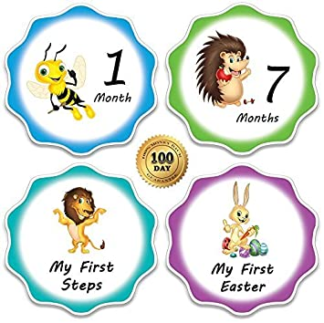 amazon com 4 5 baby monthly stickers with milestones and holidays