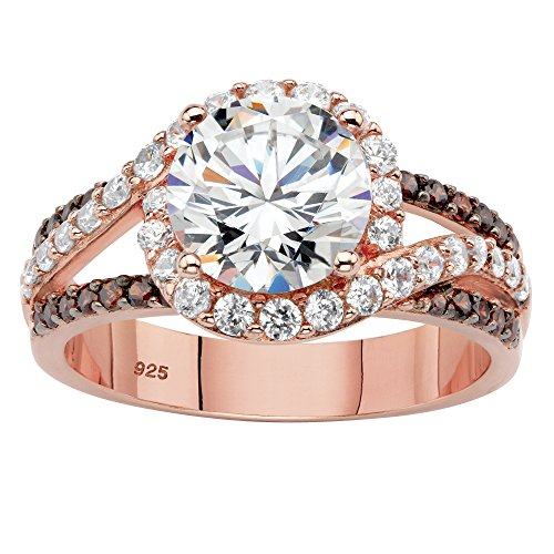 - Rose Gold over Sterling Silver Round Cubic Zirconia Triple Band Engagement Ring Size 6