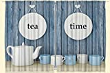Ambesonne Kitchen Curtains Restaurant Supplies, Tea Time Blue Wooden Planks Kitchen Dining Room 2 Panels Curtains White Cups Vintage Country Rustic Decor for Tea Lovers Tea Party 55 X 39 Inches