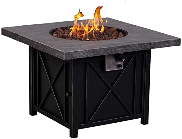 Afterglow Cottage 34 In Square Terrafab Slate Look Top With Steel Base Propane Gas Fire Pit Amazon Ca Patio Lawn Garden