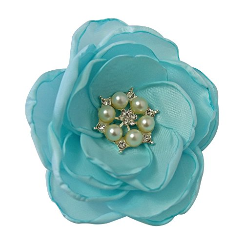 MIA White Satin Flower Rhinestone Pearl Hair Clip Wedding Hair Clip Bridal Hair Clip Bridesmaid Hair Clip First Communion Hairpiece Girls Hair Clip (Light Blue)