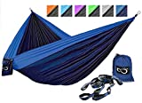 Double Camping Hammocks - Made From Strong and Lightweight Parachute Weather Resistant Nylon- Hammocks Include Stretch Resistant Tree Straps - Perfect for Travel or Hiking- Turquoise Outside