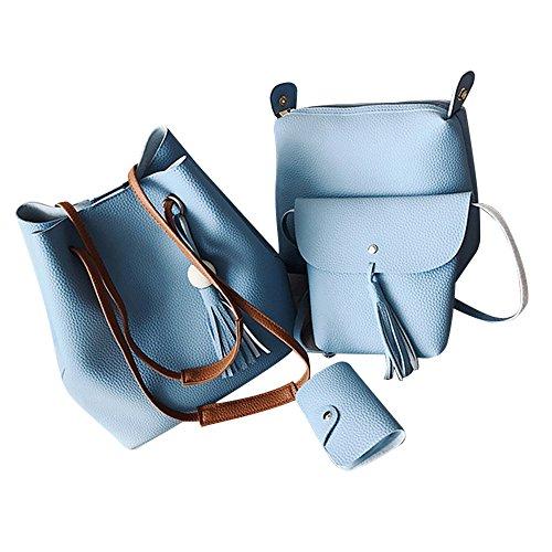 CocoMarket Women Purse 4 Pieces Handbag Set PU Leather Tote Bag Satchel Shoulder Bags with Wristlet Wallet