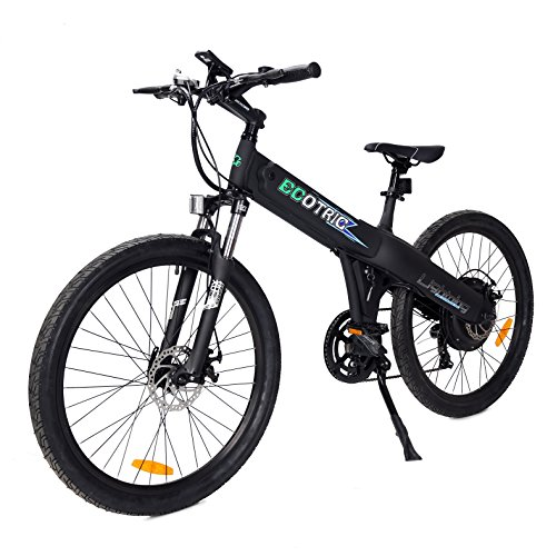 ECOTRIC Aluminum Alloy Electric Bike Matt Black Electric Mountain Bicycle Powerful 500W Lithium 36V 10AH Battery Suspension Fork 26