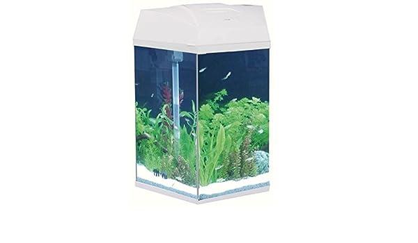 Tall hexagonal acuario - 21,6 Aserrín Capacidad con 3 Vías sistema de filtro - disponible en Negro y Blanco - Viene con respetuoso con el medio ambiente ...