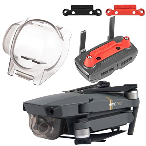 Aterox DJI Mavic Pro Accessories Gimbal Cover Lock & Transport Clip Combo Remote Controller Joystick Stick protector Lens Camera Guard Bundle