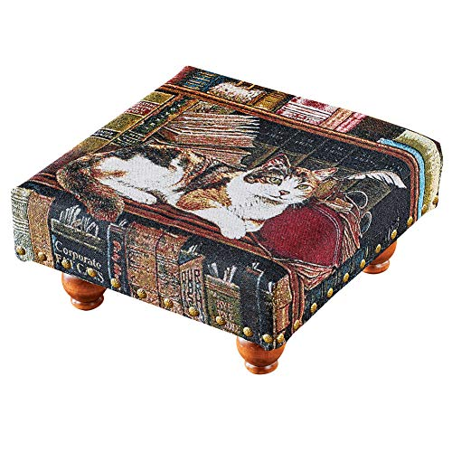 Winston Tapestry - Library Cat Tapestry Footstool - Great for Pet Lovers