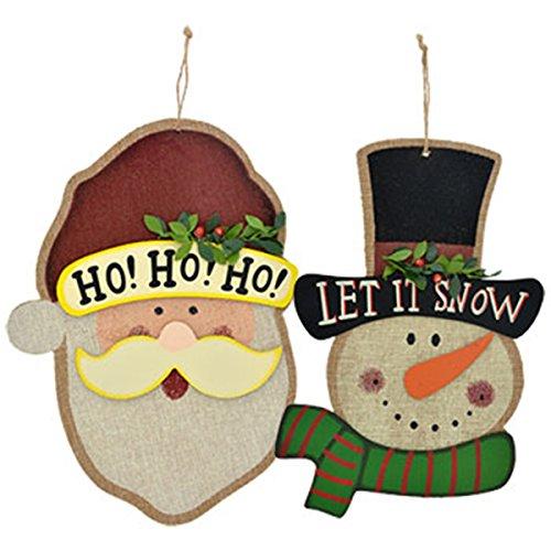 (Christmas Burlap Santa and Snowman Decorative Wall Plaques, Set of 2)