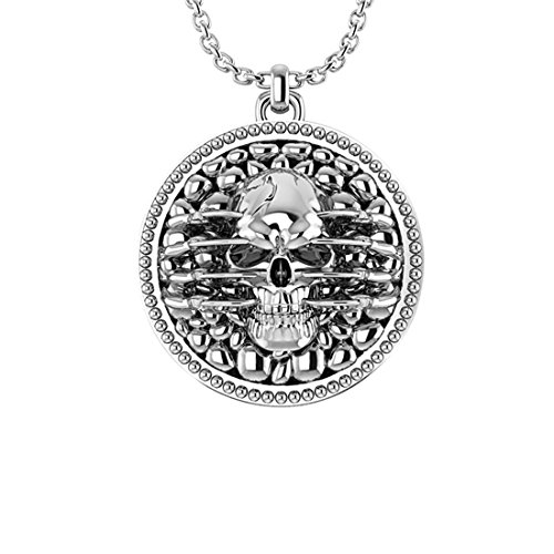 (Belinda Jewelz 925 Real Solid Sterling Silver Skull Dragon Claws Circle Double Rhodium Plated Gothic Hanging Tag Mens Man Boys Biker Gift Fine Jewelry Long Curb Chain Necklace Pendant, 24-inch)